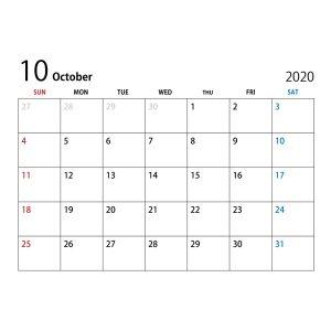 10月休日・スケジュール変更のお知らせ